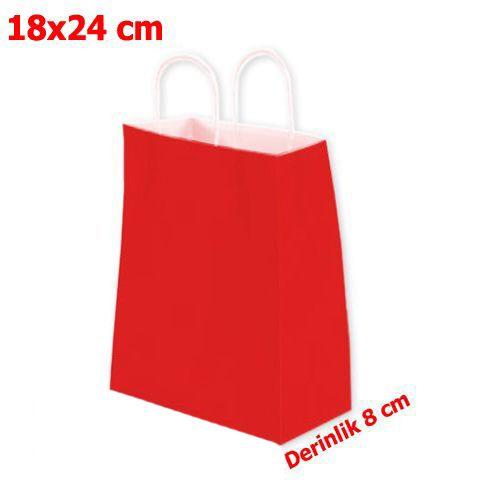 Kırmızı Kağıt Çanta 18*24*8 cm