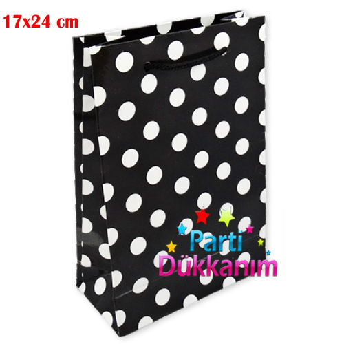 Siyah Beyaz Puanlı Karton Çanta (17x24 cm), fiyatı