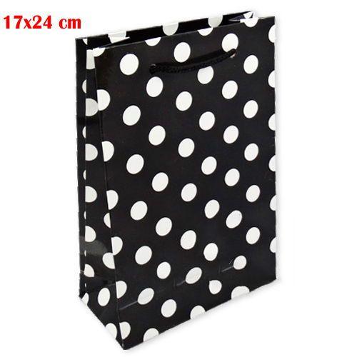 Siyah Beyaz Puanlı Karton Çanta (17x24 cm)