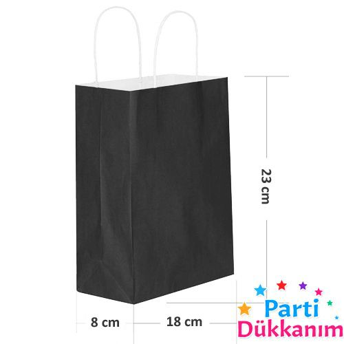 Büküm Saplı Siyah Kağıt Çanta (18 x 23 cm), fiyatı