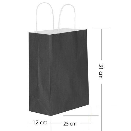 Siyah Kağıt Çanta Büyük Boy (31x25 cm)