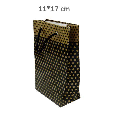 Siyah Üzeri Gold Puantiyeli Karton Çanta (11*17 cm)