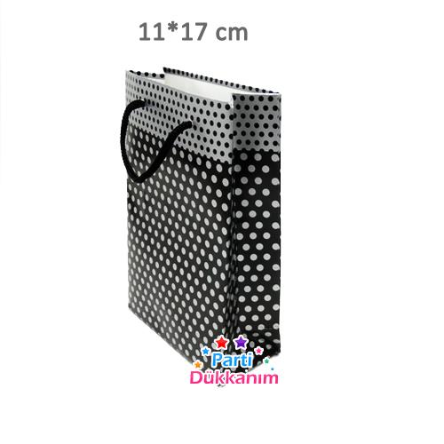 Siyah Üzeri Gümüş Puantiyeli Karton Çanta (11*17 cm)