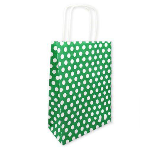 Yeşil Beyaz Puanlı Kağıt Çanta (18x24 cm)