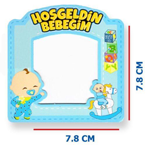 Hoşgeldin Bebeğim Fotoğraf Çerçevesi Magnetli (7,8x7,8cm) Mavi