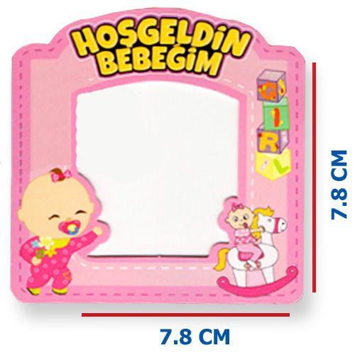 Hoşgeldin Bebeğim Fotoğraf Çerçevesi Magnetli (7,8x7,8cm) Pembe