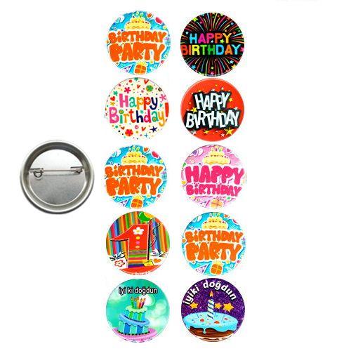 Happy Birthday Parti Rozeti (10 adet), fiyatı