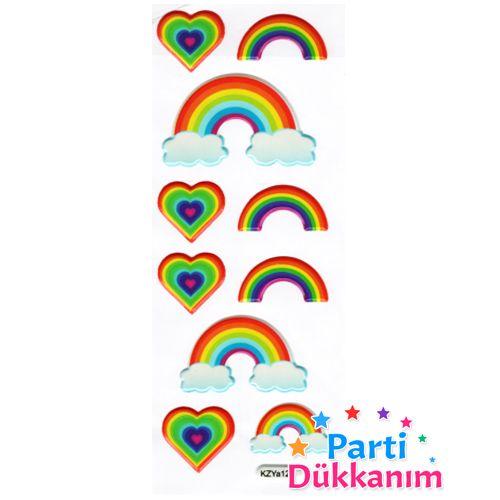 Gök Kuşağı Renkli Sticker 7x17 cm, fiyatı