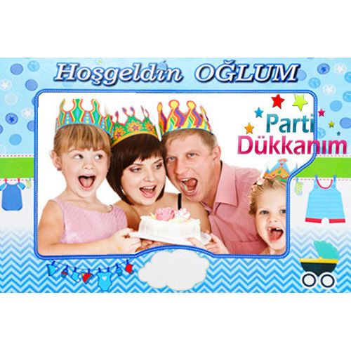Hoşgeldin Oğlum Hatıra Fotoğraf Çekme Çerçevesi (70x100 cm)