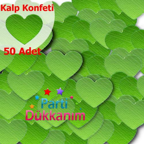 Yeşil Parlak Kalpli Masa Konfetisi (50 Adet)