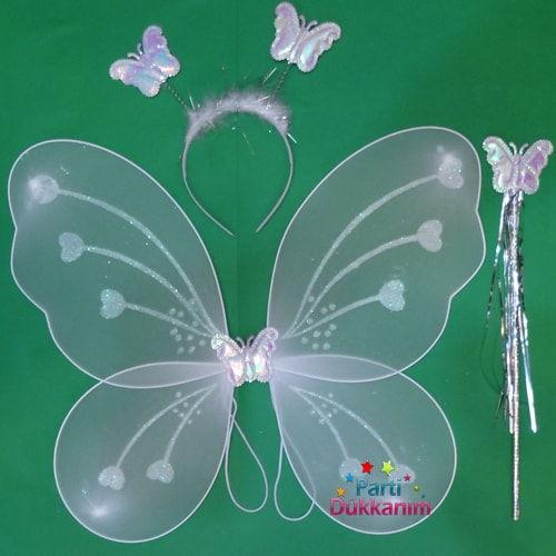 Beyaz Kelebek Kanadı Seti Parti Dükkanım