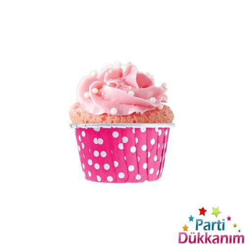 Fuşya Puantiyeli Muffin Kek Kapsülü (25 adet), fiyatı