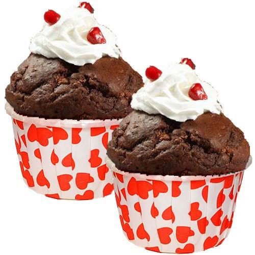 Kırmızı Kalpli Muffin Kek Kapsülü (50 adet)