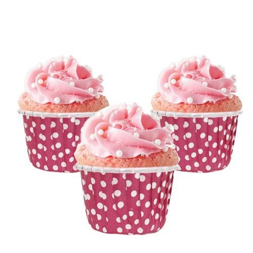 Koyu Fuşya Puantiyeli Muffin Kek Kapsülü (25 adet), fiyatı