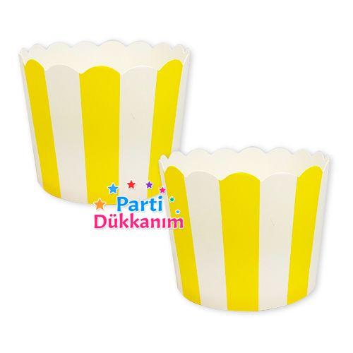 Sarı Çizgili Cupcake Kabı (25 adet), fiyatı