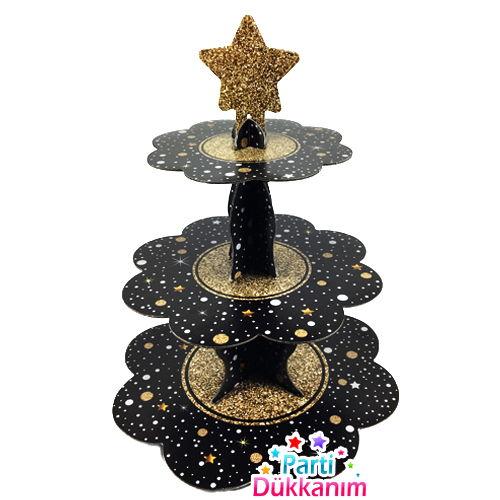 Siyah Yaldızlı Kek Standı (3 Katlı)