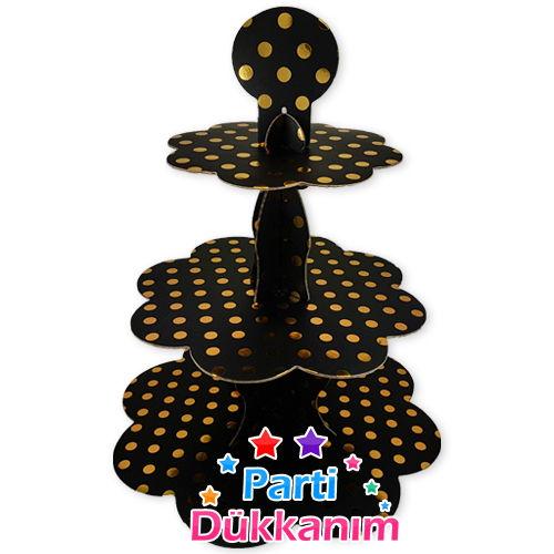 Siyah Üzeri Gold Puantiyeli Kek Standı (3 Katlı)