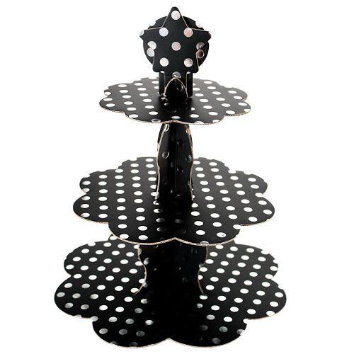 Siyah Üzeri Gümüş Puantiyeli Kek Standı (3 Katlı)
