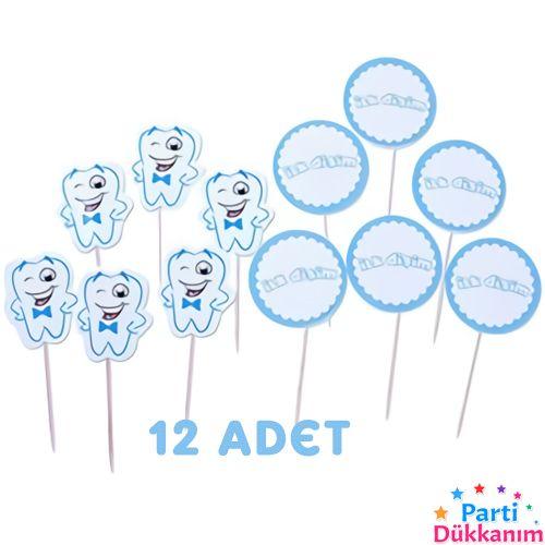 Diş Buğdayı Kürdan Mavi 12 adet)