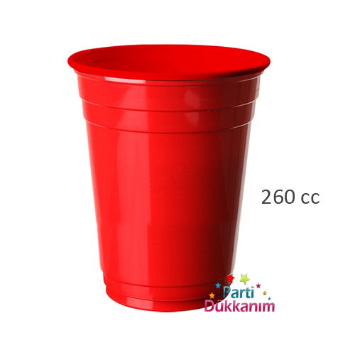 Kırmızı Plastik Lüks Meşrubat Bardağı (8 adet), fiyatı