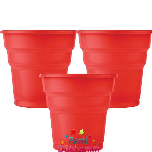 Kırmızı Plastik Bardak Lüks (25 adet)