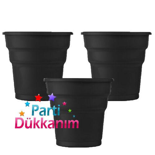 Siyah Plastik Lüks Bardak (25 Adet), fiyatı