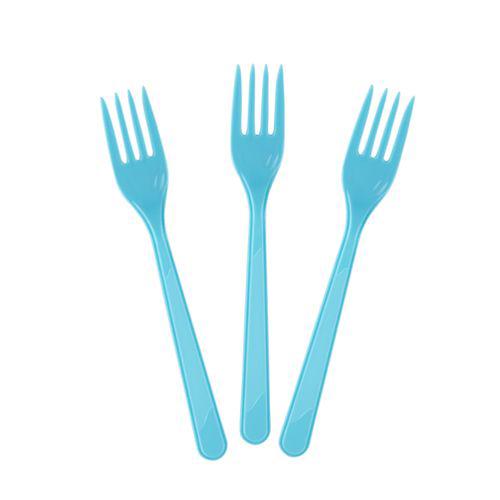 Açık Mavi Plastik Çatal Lüks (25 adet)