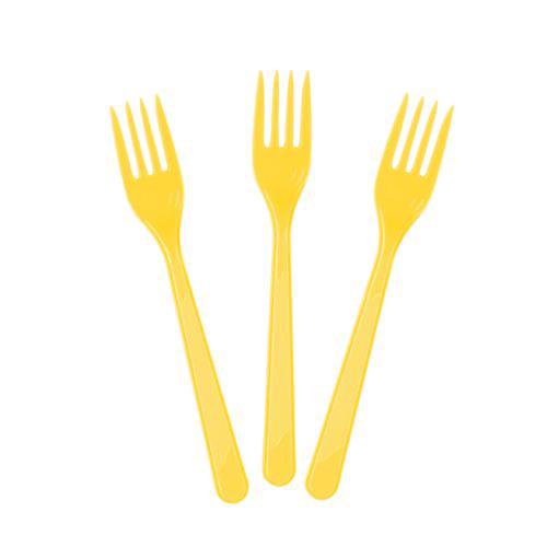 Sarı Plastik Çatal Lüks (25 adet)
