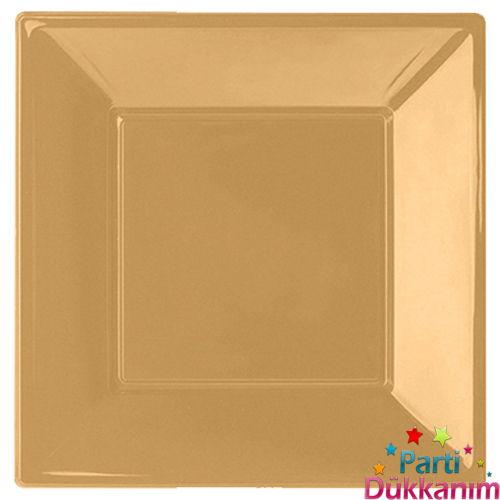 Altın Plastik Kare Lüks Tabak (8 adet)