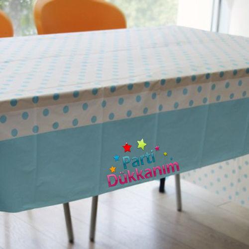 Açık Mavi Puantiyeli Masa Örtüsü (137x182 cm)