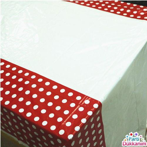 Kırmızı Puantiyeli Masa Örtüsü (108x180 cm), fiyatı