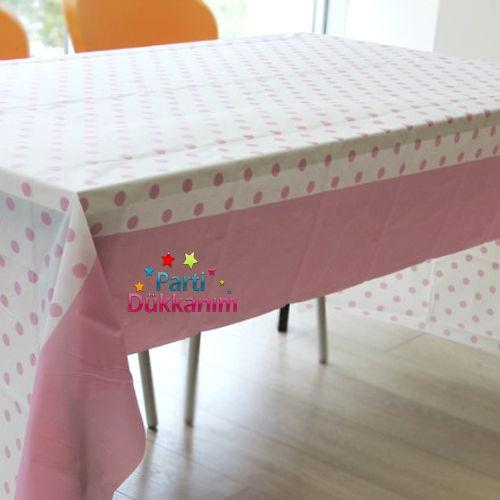 Pembe Puantiyeli Masa Örtüsü (137x182 cm), fiyatı
