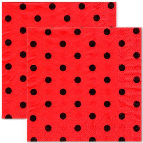 Kırmızı Üzeri Siyah Puantiyeli Peçete (20 Adet)