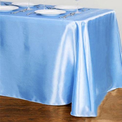 Açık Mavi Masa Örtüsü Saten Lüks 150x205 cm