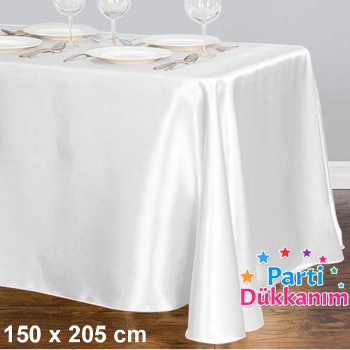 Beyaz Masa Örtüsü Saten Lüks 150x205 cm