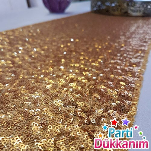 Gold Payetli Runner Lüks 39x220 cm, fiyatı