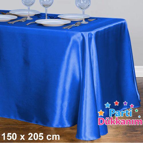 Saks Mavisi Masa Örtüsü Saten Lüks 150x205 cm