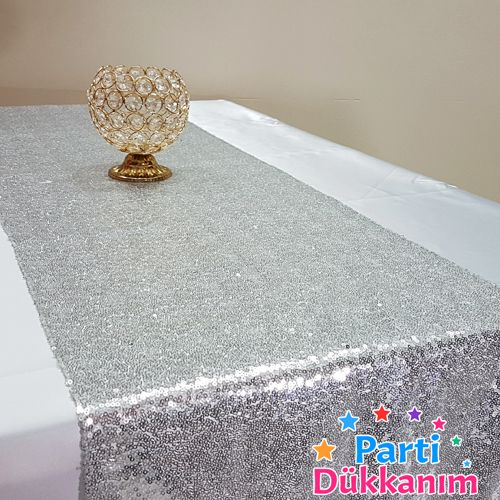 Gümüş Payetli Runner Lüks 35x205 cm, fiyatı
