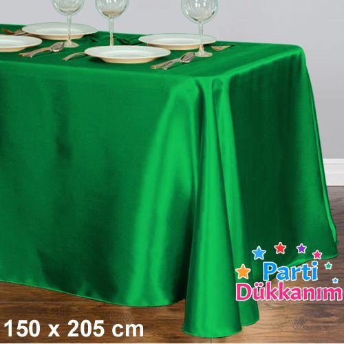 Yeşil Masa Örtüsü Saten Lüks 150x205 cm