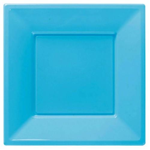 Açık Mavi Plastik Kare Lüks Tabak (8 adet)
