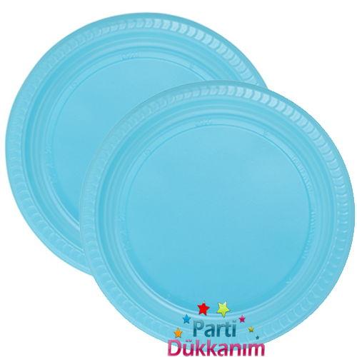 Açık Mavi Plastik Tabak Lüks (25 adet)