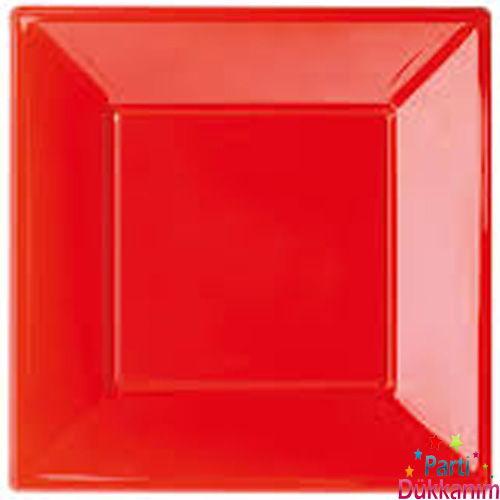 Kırmızı Plastik Kare Lüks Tabak (8 adet)