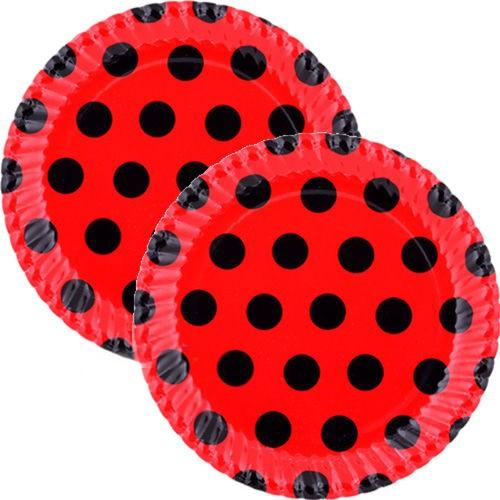Kırmızı Üzeri Siyah Puantiyeli Tabak (8 Adet)
