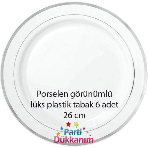 Porselen Görünümlü Lüks Plastik Tabak 6 Adet (26 cm)