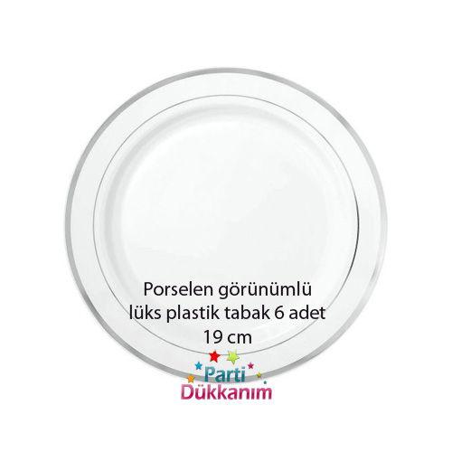 Porselen Görünümlü Plastik Tabak 6 Adet (19 cm)