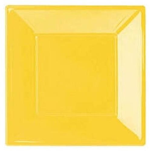 Sarı Plastik Kare Lüks Tabak (8 adet)