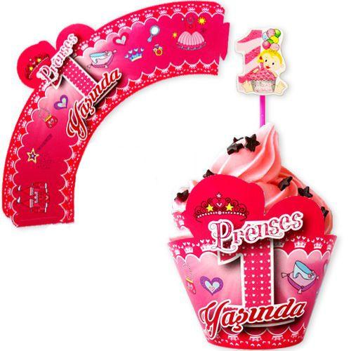 Prenses 1 Yaşında Cupcake Süsü (10 Adet)