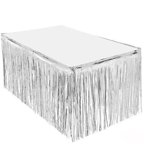 Gümüş Püsküllü Masa Eteği 75*400 cm