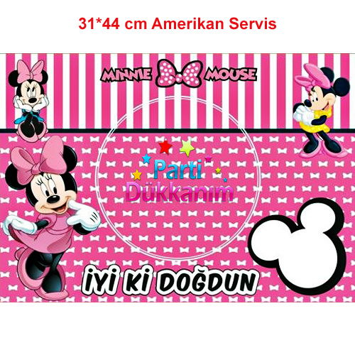 Minnie Mouse Amerikan Servis (8 Adet)