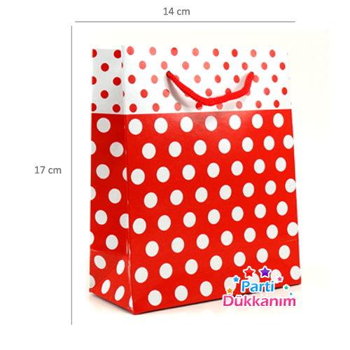 Karton Çanta Kırmızı Beyaz Puantiyeli 25 adet, fiyatı